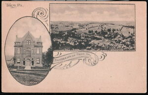 TROY-PA-Court-House-Panorama-Antique-B-W-Postcard-Early-Vtg-Town-View-PC