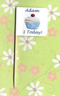 20 PERSONALISED CUPCAKE FLAG Party Pick Food Topper Decoration Cup Cake Birthday