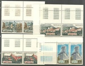 PROTECTION-OF-HISTORIC-MONUMENTS-ON-MONACO-1971-Sc-800-803-PAIR-OF-SETS-MNH