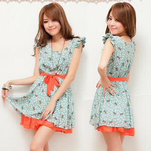 Summer-Casual-Womens-Mini-Dress-Lovely-Bowknot-Print-Sweet-Tunic-Tied-Sundress
