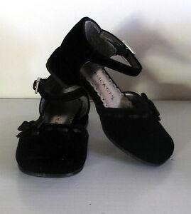 Lil beth girls dressy black velvet shoes size 6 holiday weddings 12