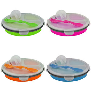 Rugged-Silicon-Eco-Collapsible-3-Compartment-Travel-Lunch-Box-BPA-Free