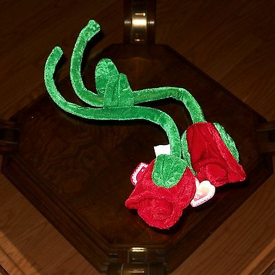 """2 PLUSH BENDABLE POLYESTER 19"""" RED ROSE VALENTINE'S DAY NEW"""
