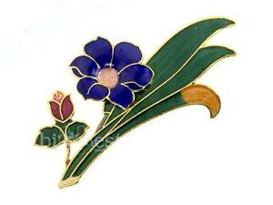 NEW-FLORAL-SPRAY-Cloisonne-Brooch-Hand-Crafted-Enamel-Jewellery-GIFT-3-Colours