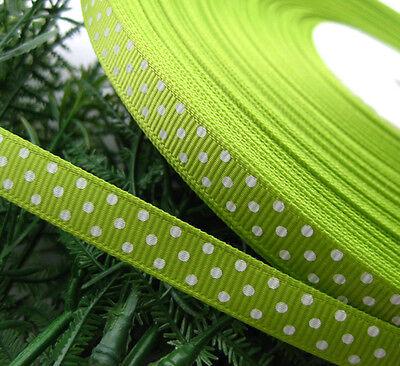 """3/8"""" Upick 5Y/30Y Lot Grosgrain Ribbon Print Dots Appliques/Craft/Wedding JNR850"""