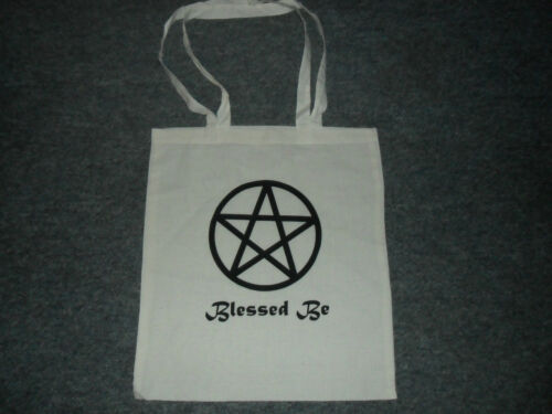 Pentacle Pagan Design Blessed Be Natural Eco Friendly Tote Cotton Shopping Bag