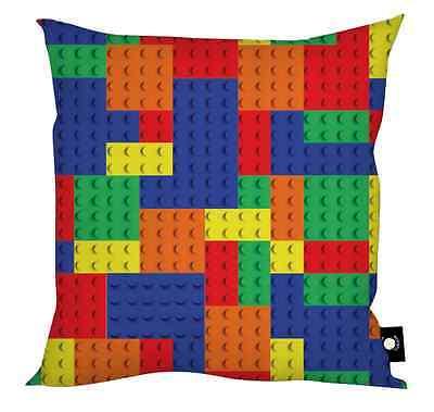"Coloured Building Brick Design Kid's 18"" x 18"" Cushion Childrens Playroom Blocks"