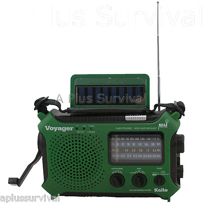 Green Kaito KA500 Voyager Solar Crank Battery Survival Radio AM FM Shortwave