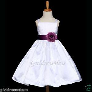 WHITE-PLUM-DARK-PURPLE-SASH-JR-BRIDESMAID-FLOWER-GIRL-DRESS-12M-2-4-6-8-9-10-12