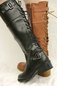 NIB-Faux-Leather-Riding-Lace-Up-Back-Low-Heel-High-Boots