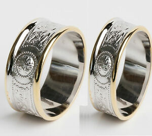 10k Gold Irish Handcrafted Irish Celtic Warrior Wedding Ring Set