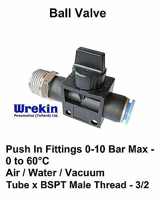 Pneumatic Push In Fittings for Air/Water Hose & Tube **ALL SIZES AVAILABLE* Stem
