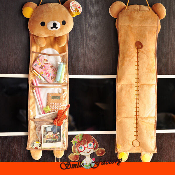 New Soft Plush Rilakkuma San-X Wall Hanging Storage Bag  3 Pockets Free shipping
