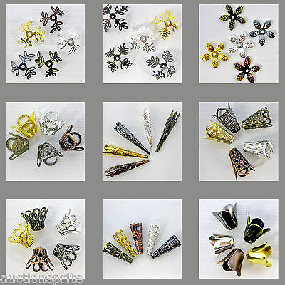 Filigree Beadcap Cones - Nickel Free - Select Style & Metal Color 50 or 100 Caps