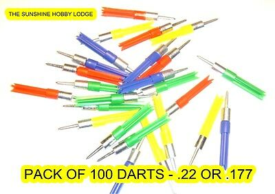 .22 .177 Darts For Air Pistol & Rifle Ballistic Darts, Pellets, Pack of 100 NEW