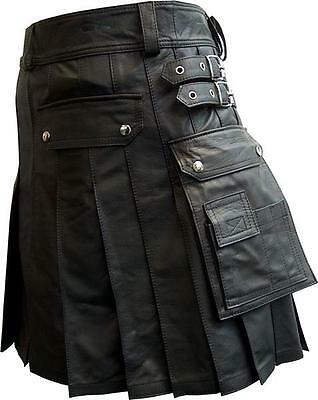 Mens Kilt Real Black Leather Gladiator Pleated Utility LARP