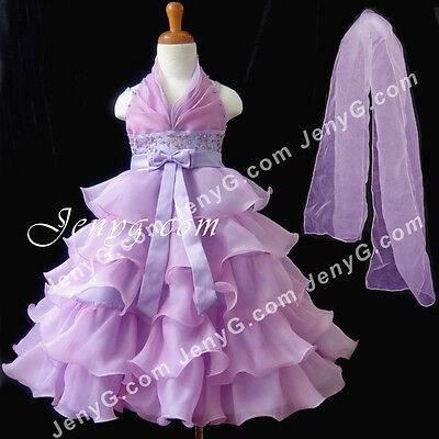 #SB51 Flower Girl/Pageant/Communions/Formal Gowns Dresses, Purple 2-10 Years