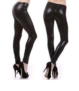New-Fantastic-SHINY-Metallic-Black-Leather-Leggings-Sexy-Tights-Pants-CAT-WOMEN
