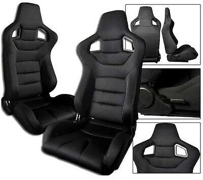 1 PAIR Black Cloth Racing Seats RECLINABLE W/ SLIDERS FIT FOR ALL Nissan
