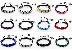 Square-Shamballa-Bracelet-10x10mm-Pave-Crystal-Rhinestone-Beads