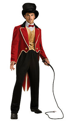 ADULT CIRCUS CLOWN RINGMASTER COSTUMES MENS MALE RING MASTER RED TAILCOAT TAMER