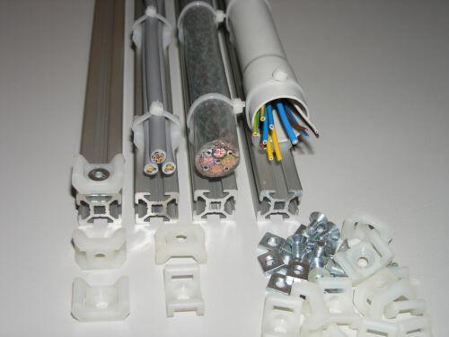 Kabelhalter / Schraubhalter , Set mit Nutenstein M5 für Aluprofil 20x20 Nut 6