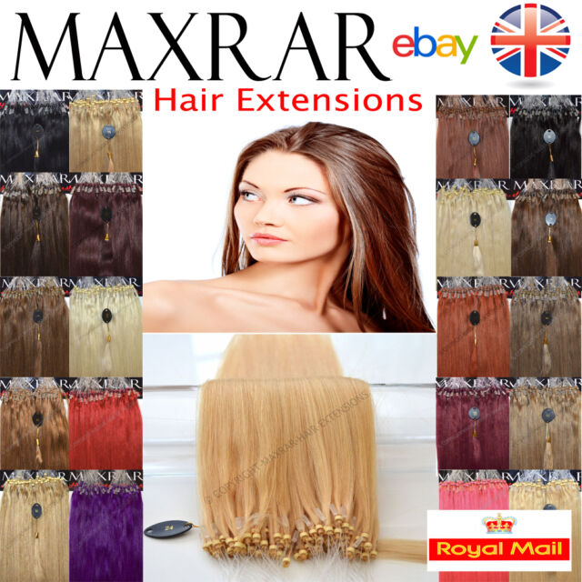 """100 MICRO LOOP REMY HUMAN HAIR EXTENSIONS 18"""" LONG STRAIGHT"""