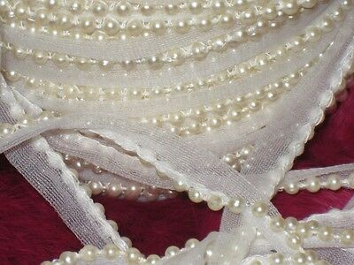 "3 yards 1/2"" width ivory color tulle trim with pearl decorative for your design"