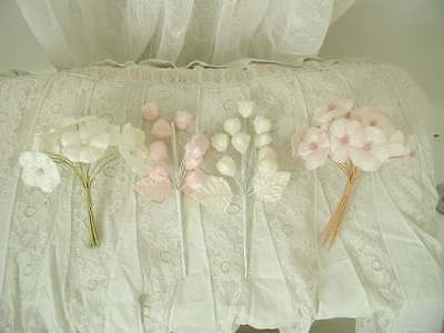 (4) Shabby Pink Cream Chic Vintage Appeal  Velvet Millinery Flower Tussie Mussie