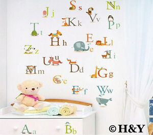Animals Alphabet Removable Educational Wall Stickers Kids - Educational wall decals