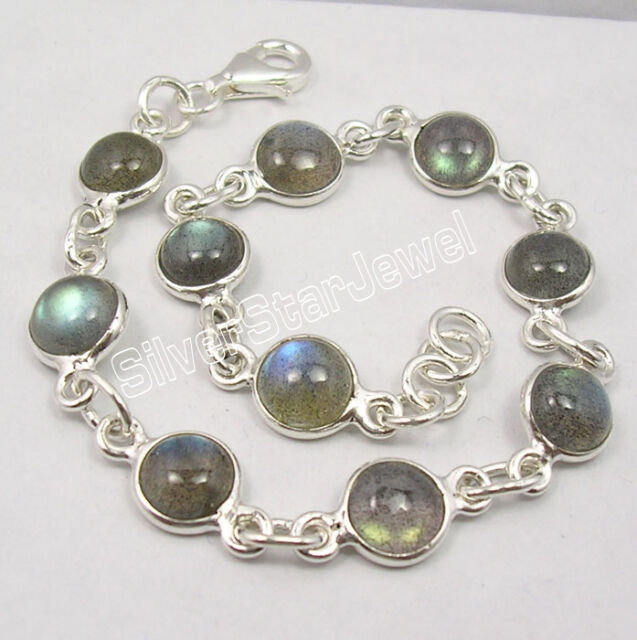 .925 Sterling Silver Real BLUE FIRE LABRADORITE HANDMADE Bracelet 8 1/8 Inches
