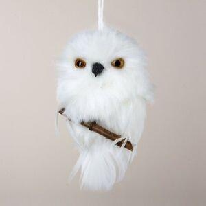 Plush Furry Feather Snowy White Owl Branch Ornament