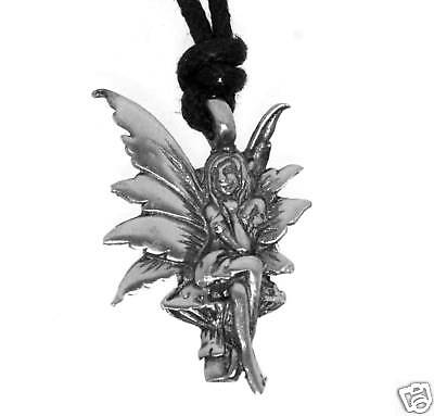 Silver PEWTER Pixie FAIRY Pagan NYMPH Mushroom PENDANT