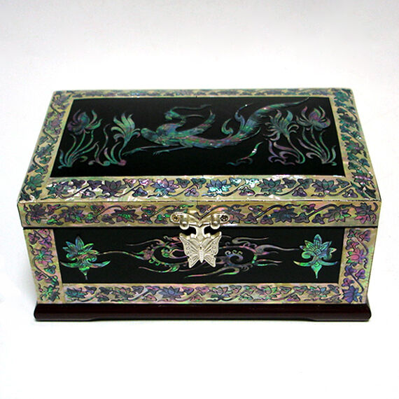 Mother of Pearl Phoenix Design Lacquer Wood Decorative Jewelry Trinket Chest Box