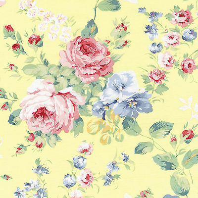 """COTTON 100% BED CLOTHES DRESS FABRIC VINTAGE SHABBY FLORAL MATCHING PRINTS 44""""W"""