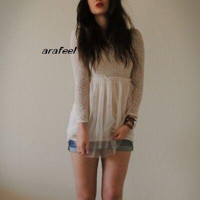 Crochet White Lace top mini Dress babydoll FLORAL PUFF vintage ruffle Arafeel