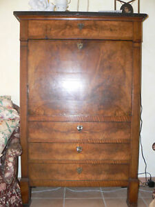 ancien secretaire empire noyer colonne plate 19 eme ebay. Black Bedroom Furniture Sets. Home Design Ideas