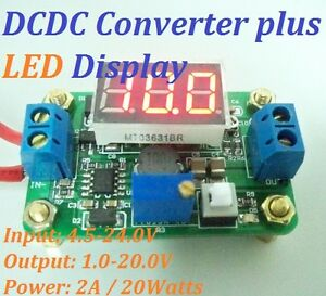 DCDC-Step-down-Adjust-Converter-plus-Red-LED-Voltage-Panel-4-5-24V-to-1-20V-2A