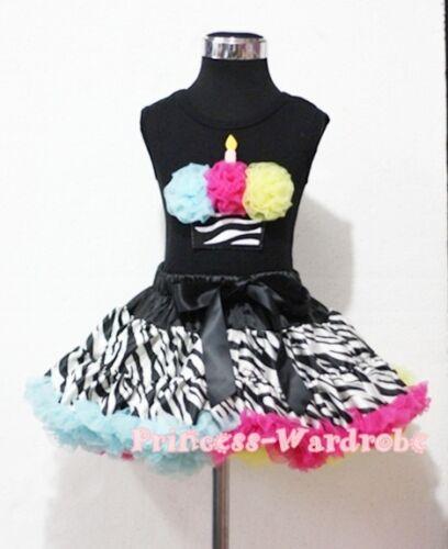 Rainbows Zebra Pettiskirt with Black Top Rainbows Zebra Print Cupcake Set 1-8Y