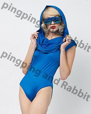 Hooded Bodysuit Catsuit Jumpsuit Blue Nylon Shiny Costume Little Riding Hood