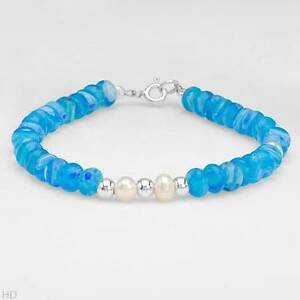 New-Bracelet-With-Genuine-Glass-beads-3-5-5-0mm-Freshwater-Pearls-In-925-S-S