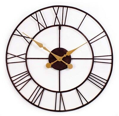 GIANT OPEN FACE Metal Garden OUTDOOR WALL CLOCK 76cm LARGE BIG Roman Numerals