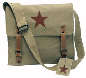 KHAKI-VINTAGE-LOOK-ARMY-BROWN-STAR-MEDIC-SHOULDER-MESSENGER-BAG