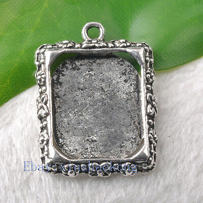 60pcs Tibetan Silver Exquisite Photo Frame Charm Pendents KP0495 25mm