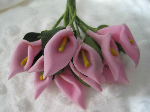 Mini Foam Pale Pink Calla Lilly Flowers - Bunch of 10