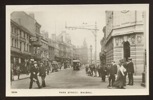 Staffs-WALSALL-Park-St-1910-RP-PPC-busy-street-scene