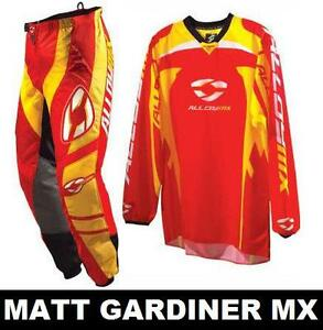 ALLOY-MX-MOTOCROSS-MX-1-KIT-pants-jersey-RED-YELLOW-28-034-WAIST-SMALL-SHIRT