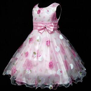 Kid-Pink-Floral-Chiffon-Wedding-Party-Flower-Girls-Dresses-AGE-2-3-4-5-6-7-8-10Y
