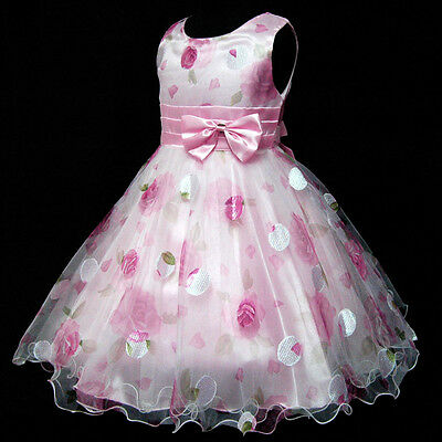 Kids Pink Floral Chiffon Easter Party Flower Girls Dresses AGE SIZE 3,4,5,6,7,8Y