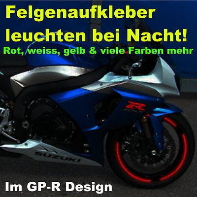 Felgenrandaufkleber reflektierend GP Design Motorrad felgenaufkleber z.B. Weiss
